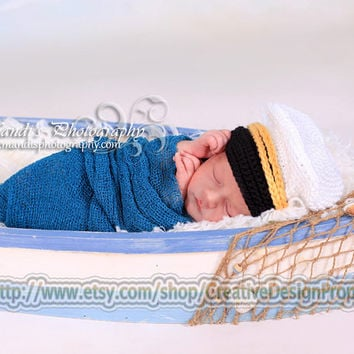 Crochet Newborn Baby Captain Hat 0-1, 2-3 and 3-6 mo -- Little Sailor Hat, Anchors away, Newborn Photo Prop or perfect gift for Baby Shower