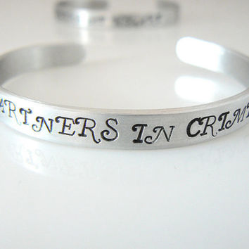 Partners in Crime, bracelet , hand stamped, BFF gift , sister gift , gift for friend, 1/4 inch, Mother's Day Gift, bulk order discount