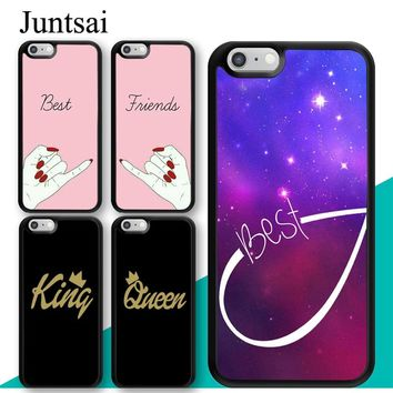 Juntsai BFF Best Friend Forever King Queen For iPhone 6 6s Plus Case Soft TPU Back Shell For iPhone X 7 8 Plus 5 5s Phone Cover
