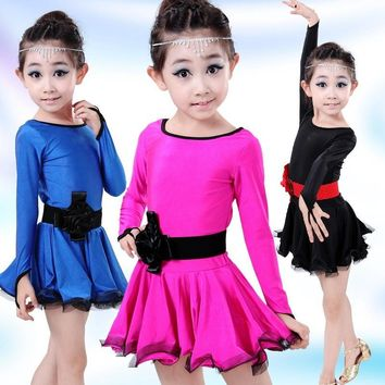 Children's Long Sleeve Lace Latin Gymnastics Dance Girls Dress Tutu Leotard Skate DressesO utfits Performance Dancewear Costumes