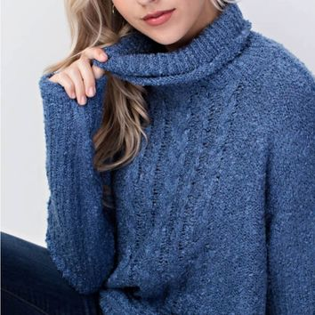 Twisted Pattern Cowl Neck Sweater