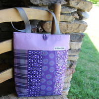 Ecofriendly JOLLY Patchwork Tote, Purple, Lavender, Quilted Bag, IPad Tote, Netbook Tote  -- Upcycled Recycled Repurposed