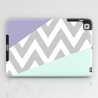 Mint & Lavender Chevron Block iPad Case by daniellebourland