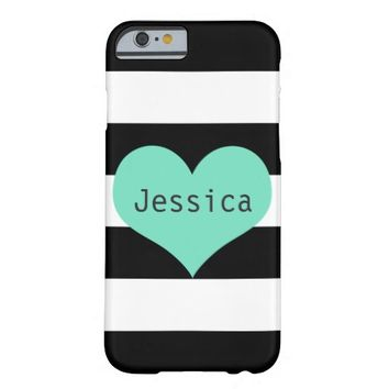 Mint Heart on Stripes - Personalized iPhone 6 Case