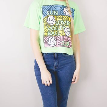 Vintage 1989 Sun Lover Volleyball Cropped T Shirt