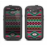 The Vector Green & Pink Aztec Pattern Samsung Galaxy S3 LifeProof Fre Case Skin Set