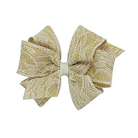 Copper Key Lace Burlap Six Loop Bow - Toffee/Ivory