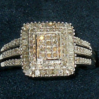 Genuine Diamond Ring .50ctw Sterling Silver size7 132 diamonds