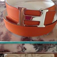 Hermes Constance H Buckle Belt Orange White 32mm Size 85