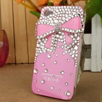 FOR APPLE I PHONE 4, 4S ,4G LUXURY 3 D BOW CRYSTAL CZECH DIAMOND CASE