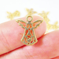 10 Mini Fretwork Angel Charms - 22k Matte Gold Plated - GCM104