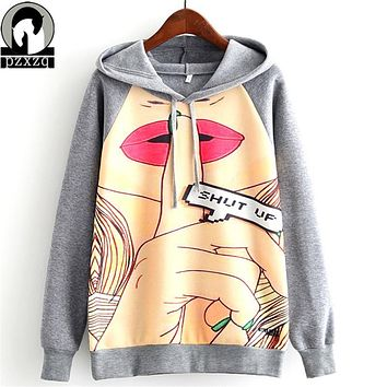 Winter New Warm Autumn Casual 3D Sweatshirt Women Winter Clothing Cartoon Totoro Print Moleton Feminino Hoodies Pullover Tops