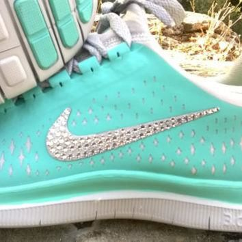 blinged nike free 3.0v4 running athletic sneakers sport run shoes mint green color cus
