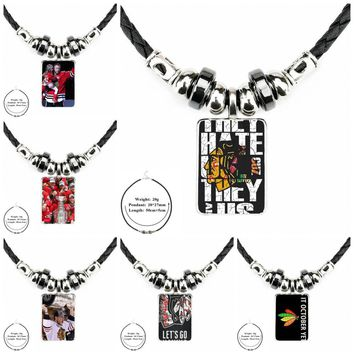 For Women Party Gift Black Leather Bead Pendant Plated Glass Cabochon Choker Pendant Necklace New Chicago Blackhawks Nhl Hockey