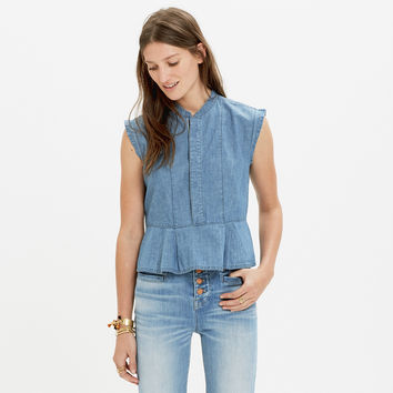 RIVET & THREAD CHAMBRAY PEPLUM TANK