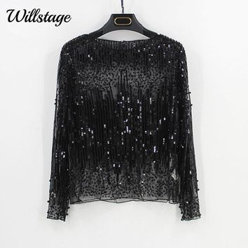 Willstage Sequins Tops Women T-shirt Long Sleeve Mesh Sexy Shirt Pearl embroidery Tee Gold Silver Bling Party blusa 2018 Spring