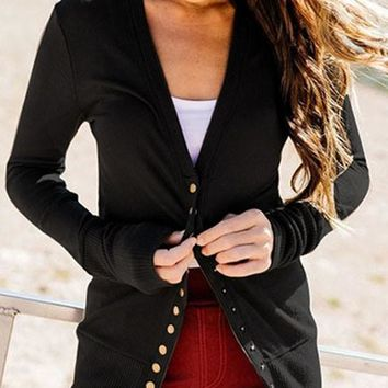 New Black Buttons V-neck Long Sleeve Streetwear Cardigan Sweater