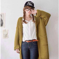 Long Sleeve Thick Knit Cardigan Sweater