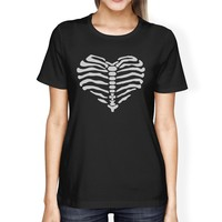 Skeleton Heart Womens Black Shirt