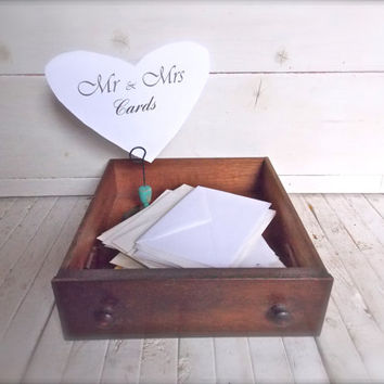 Wedding Card Box Wood Drawer Winter Wedding