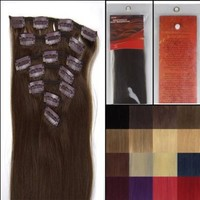 18'' 7pcs Remy Clips in Human Hair Extensions 04 Medium Brown 70g for Women's Beauty Hairsalon in Fashion:Amazon:Health & Personal Care