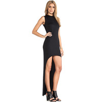 Black Sleeveless High-Low Bodycon Maxi Dress