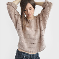 Spring sweater with 3/4 sleeves / Hand knitted by Plexida on Etsy
