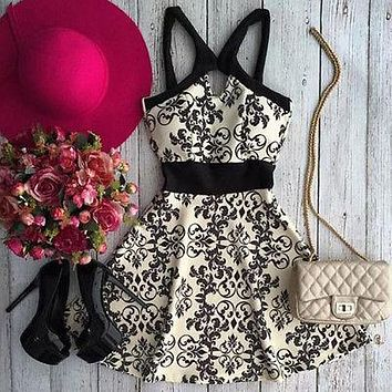 Women Summer Dress Sleeveless Floral Evening Party Beach Dress Short Mini Dress