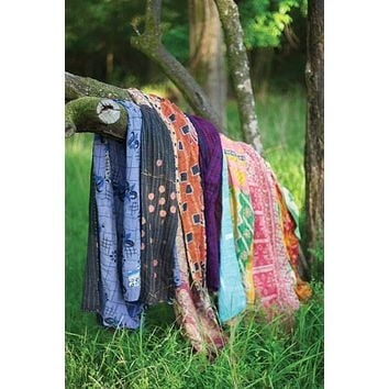 Set Of 6 Recycled Kantha Throws - Assorted Sizes & Patterns