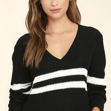 Pep Rally Black and White Striped Cropped Sweater
