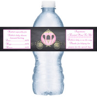 Princess Carriage Baby Shower Personalized Water Bottle Labels
