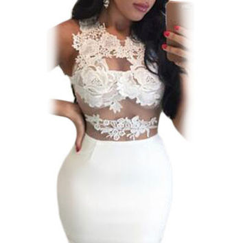 Mesh Floral Lace Patchwork Mini Dress Sexy White Bodycon Dress Sleeveless Wo SM6