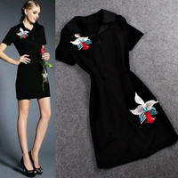 Black Collared Short Sleeve Embroidered  A-Line Mini Dress