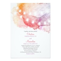 watercolor string lights elegant wedding invitatio