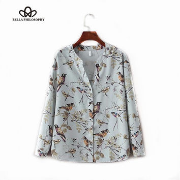 2016 autumn winter New V-neck blue vintage floral birds print women blouse shirt long sleeve real photo