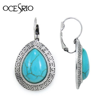 India Jewelry Silver Turquoise Earrings with imitation gemstone ethic blue drop earrings red grenn big brincos vintage ers-h04