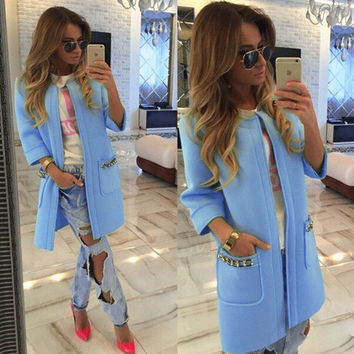 2016 Autumn Women Long Coat Open Stitch Trench Coat for Women Fashion Chaquetas Mujer Trench Coat for women S M L XL