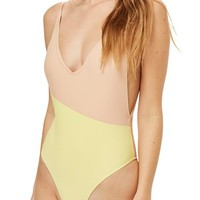 Topshop Colorblock Plunge One-Piece Swimsuit | Nordstrom