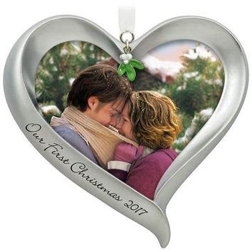 Our First Christmas Loving Heart Picture Frame Ornament