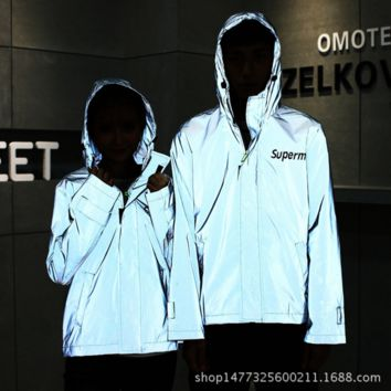 Nike Fashion Reflect Light Hooded Zipper Cardigan Sweatshirt Jacket Coat Windbreaker Sportswear