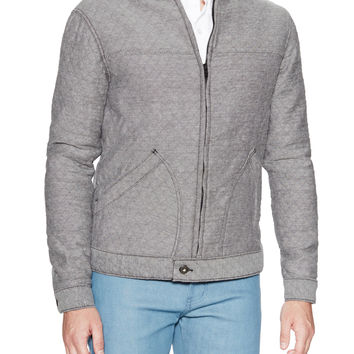 Quilted Front Zip Bomber Jacket