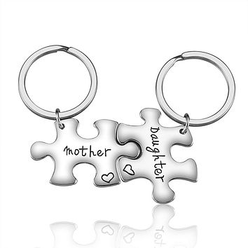 2 Piece: Mother & Daughter Puzzle Piece Connection Keychain