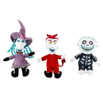 Disney Parks Nightmare Before Lock Shock Barrel 7inc Plush Set New with Tags