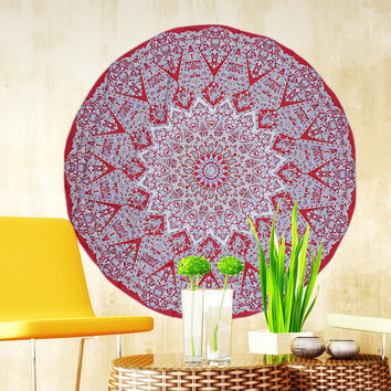 """Bohemian Maroons Round Hippie Tapestry/Throw/Table Cloth/Window Covering/Yoga Mat etc..... Round 150cm/59.0"""""""