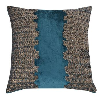 Teal and Gold Beaded Velvet Pillow