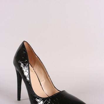 Anne Michelle Croco Pointy Toe Stiletto Pump