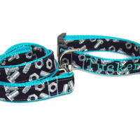 Personalized Dog Set Gear Head Nuts and Bolts on Blue - Collar and Leash Set - Pet Bundle