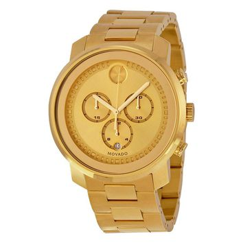 Movado Bold Champagne Dial Yellow Gold Ion-plated Mens Quartz Watch 3600278
