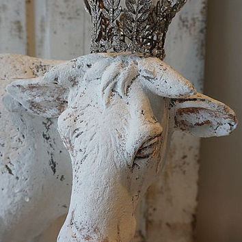 Large cow statue French farmhouse paint white figure w/ rose on his back farm animal rhinestone crown home decor anita spero design