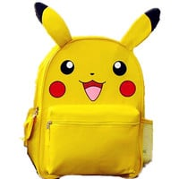 Monster Yellow Pikachu Small Big School Backpack Book Bag with Ear for Kids Mochila Xmas Gift